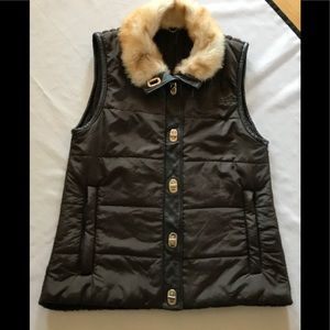 Anthro/One Girl Who winter vest w/ faux fur collar